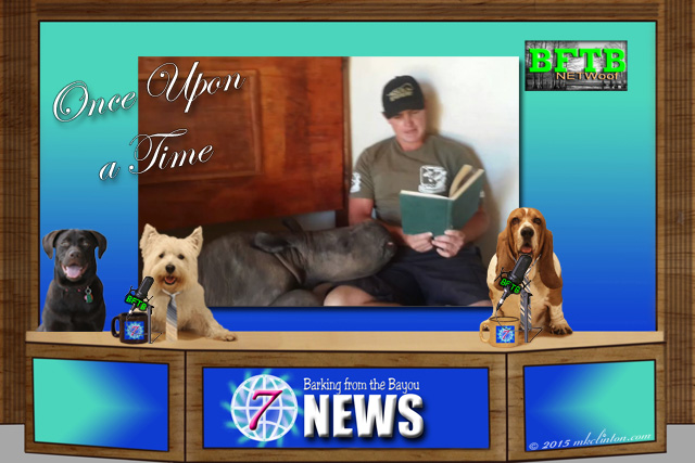 BFTB NETWoof News set with man reading to rhino backdrop