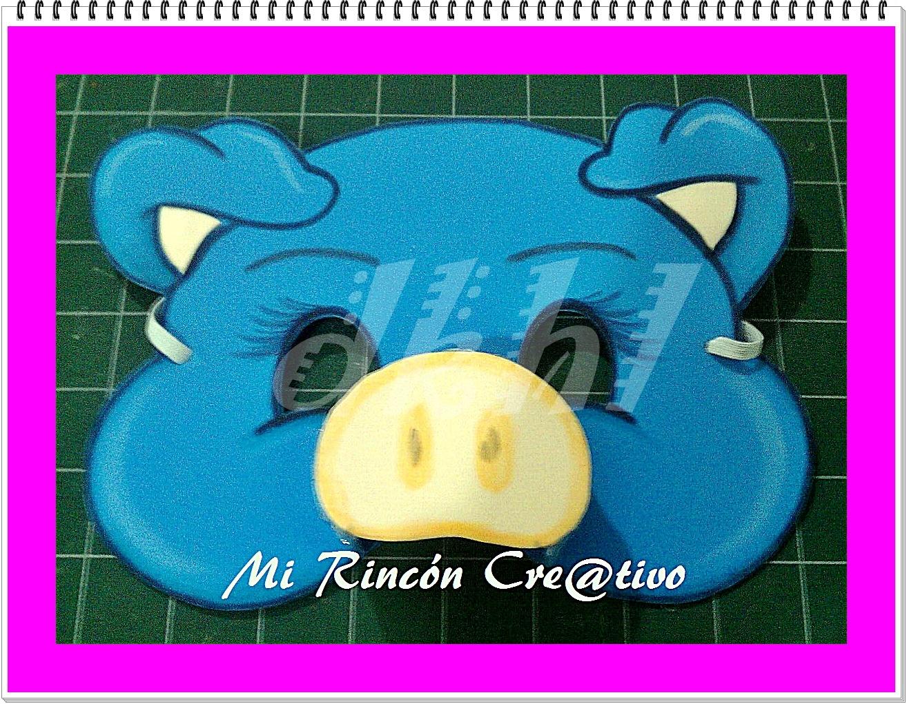 Mi rincón cre@tivo DKHL...: Máscara Cerdito Rosa y Azul