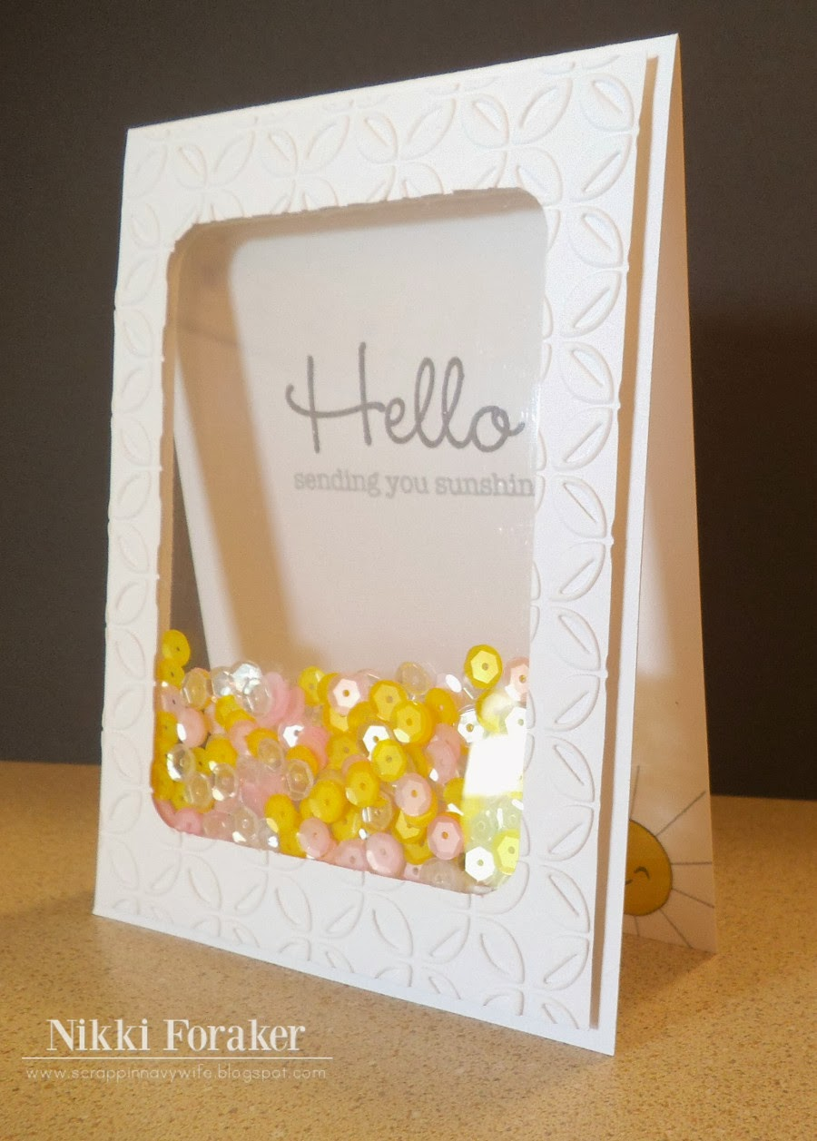 Scrappin 39 navy wife hello shaker card for Card creative