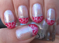 Pink tips with hearts for  Valentine's Day