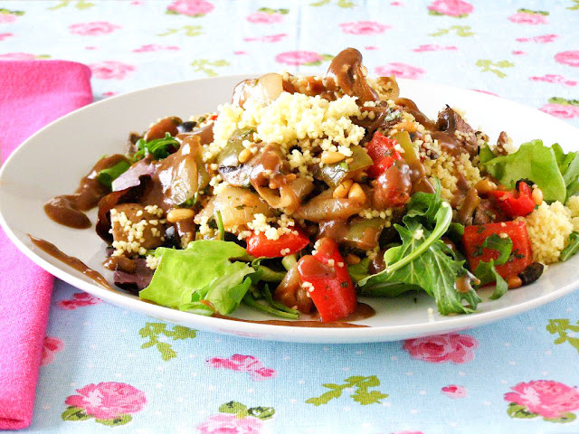 Roasted Mediterranean Couscous Salad with Balsamic Dressing