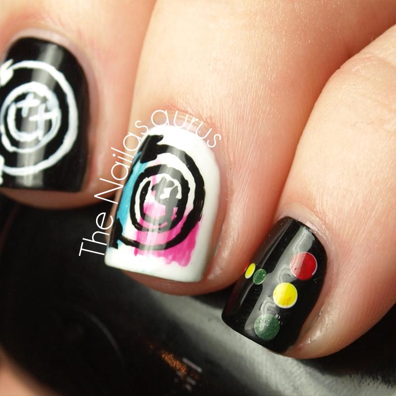 Blink 182 Freehand Nail Art