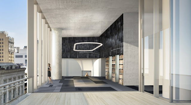Rendering of interior room with high ceilings at 56 Leonard Street by Herzog & De Meuron, New York