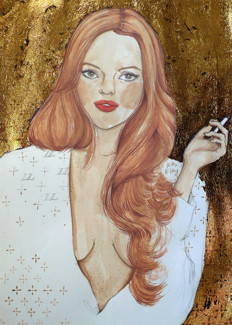 Kitty N. Wong/ Lindsay. Gouache, gold leaf acrylic portrait painting