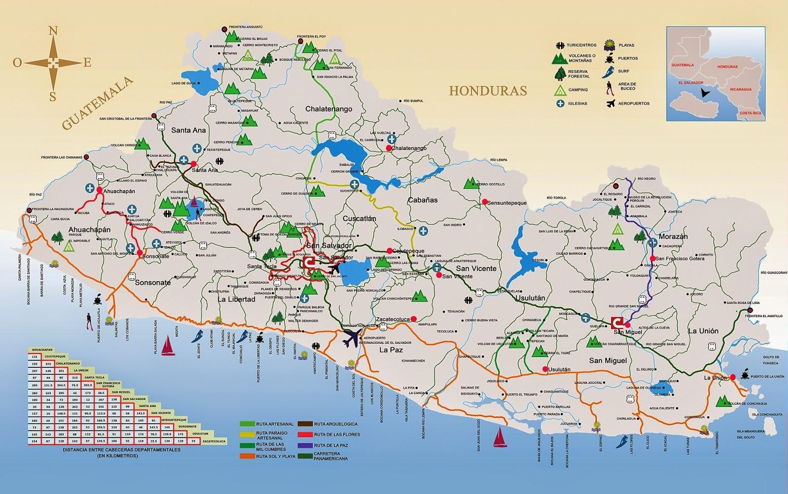 El Salvador Mapa Montaas