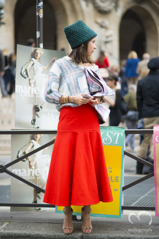 Natasha Goldenberg wears Stella Mccartney sweater during Paris Fashion Week PFW 2014 Spring Summer Season