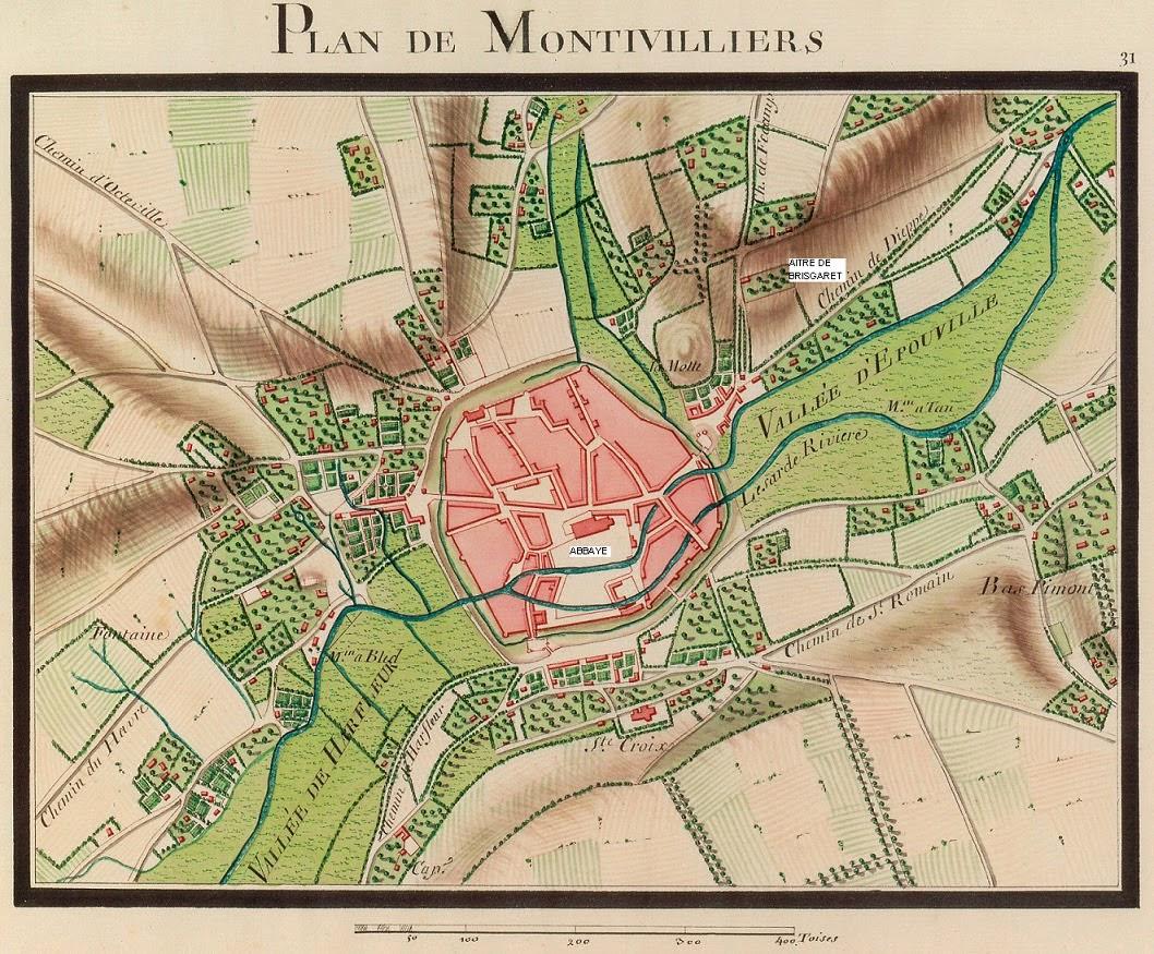 Plan de Montivilliers au début du XVIIIe siècle