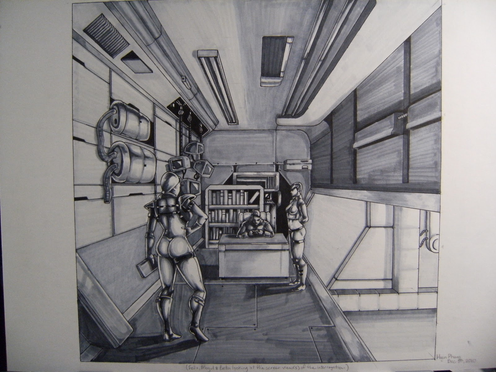 Ian pham works good old fashion pencils and markers for Cyberpunk interior design