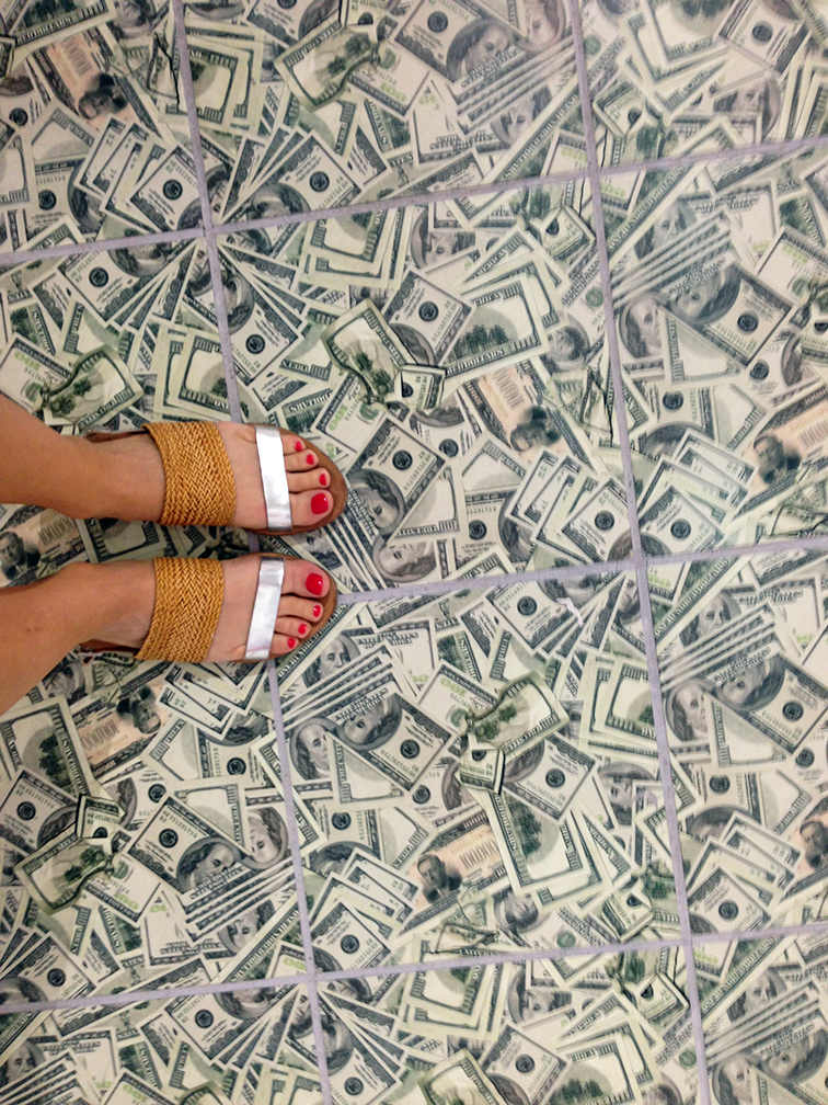 Money floor from Rare Gallery at Scope Art Show, MBAB 2104, Loeffler Randall sandals