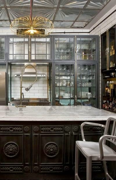black gray gold kitchen