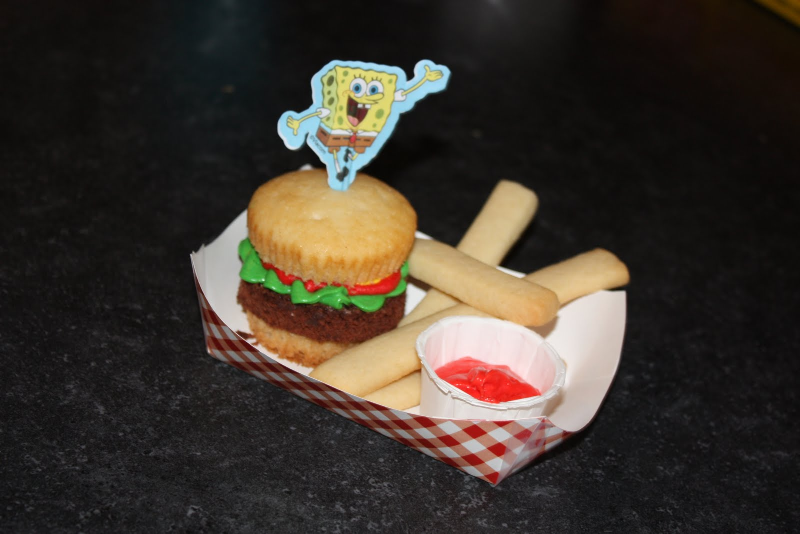 My Ava Cakes Spongebob Krabby Patty And Fries Happy Birthday Jared