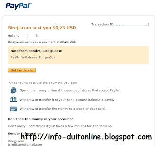 pembayaran pertamaku dari Birejji.com