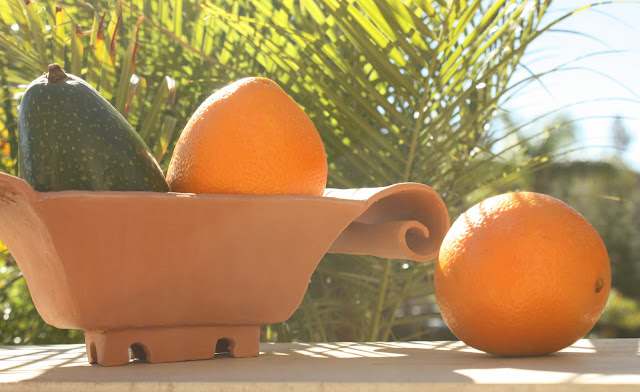 oranges, fruit, terracotta, earthenware, art, avocado, palms, food, harvest, Sarah Myers, S. Myers,