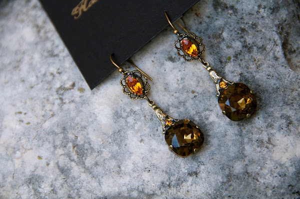 bronze Swarovski earring