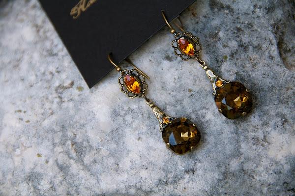 bronze Swarovski earring