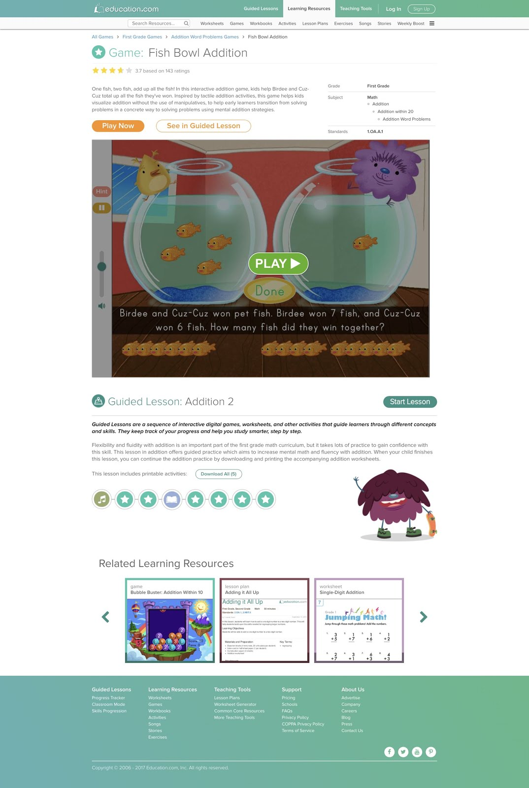 Free online math game - Fish Bowl Addition | TeacherLINK Blog!