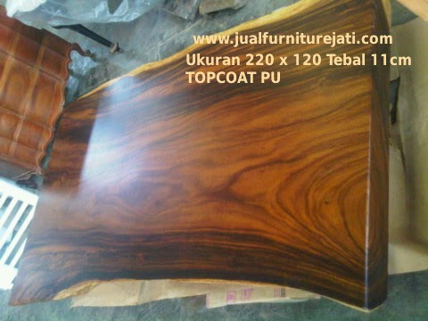 Meja Trembesi Furniture Solid Panjang 2 Meter bentuk alami finishing PU