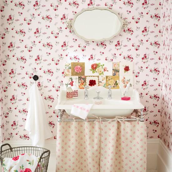 Cortinas De Baño Vintage:Vintage Floral Bathroom