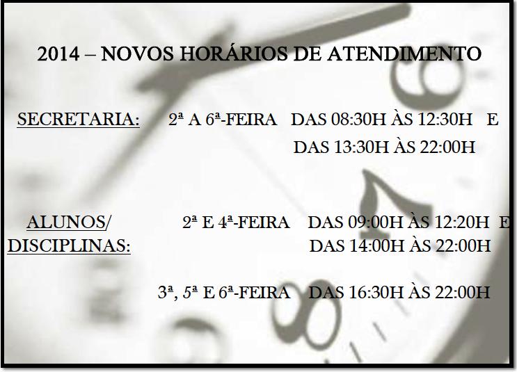 ATENÇÃO!!! PROGRAME-SE:  CEEJA COM NOVOS HORÁRIOS DE ATENDIMENTO.