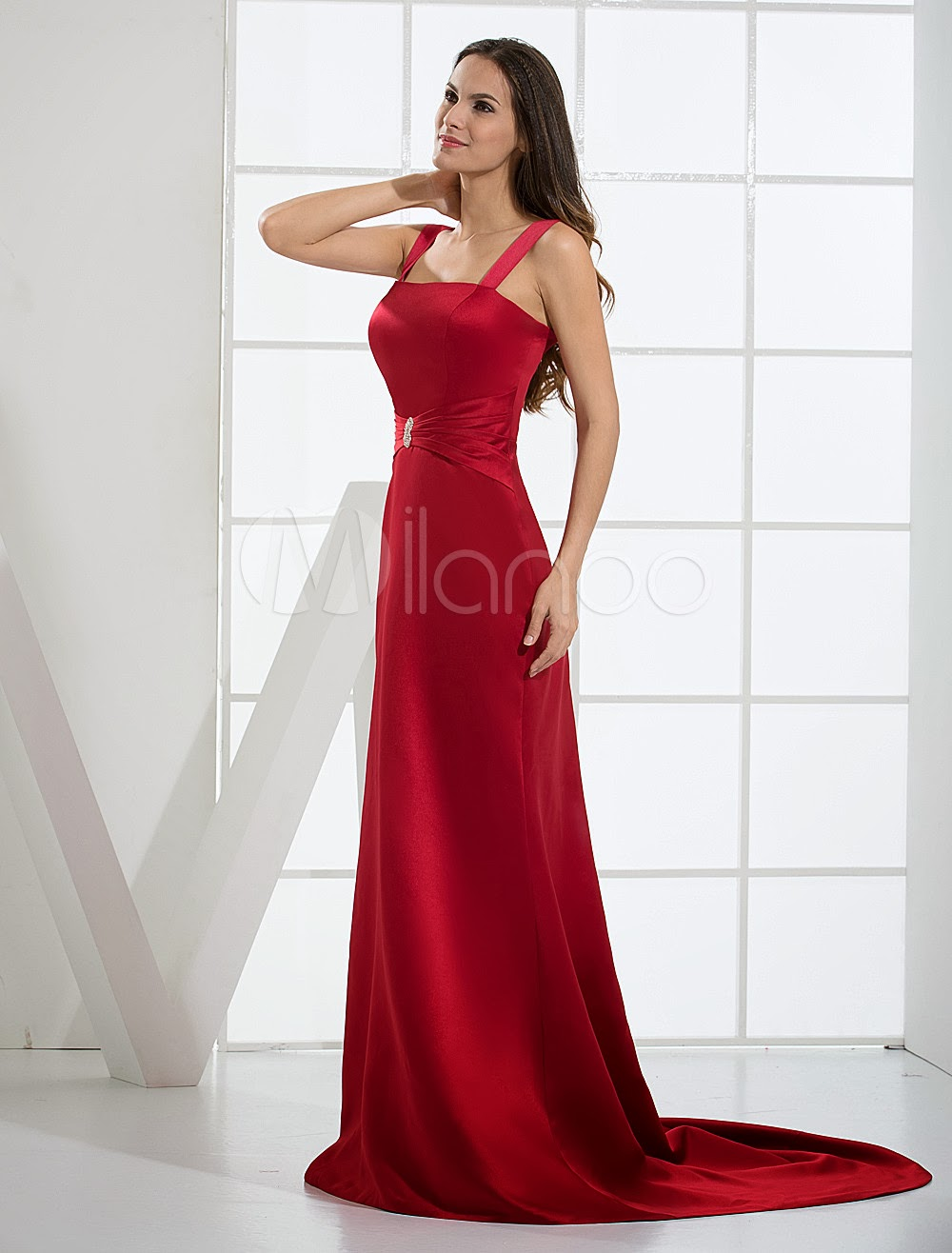 China Wholesale Dresses - Burgundy Spaghetti Satin Evening Dress