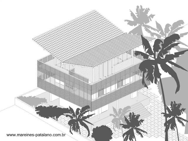 Dibujo por computadora del proyecto de una casa Tropical
