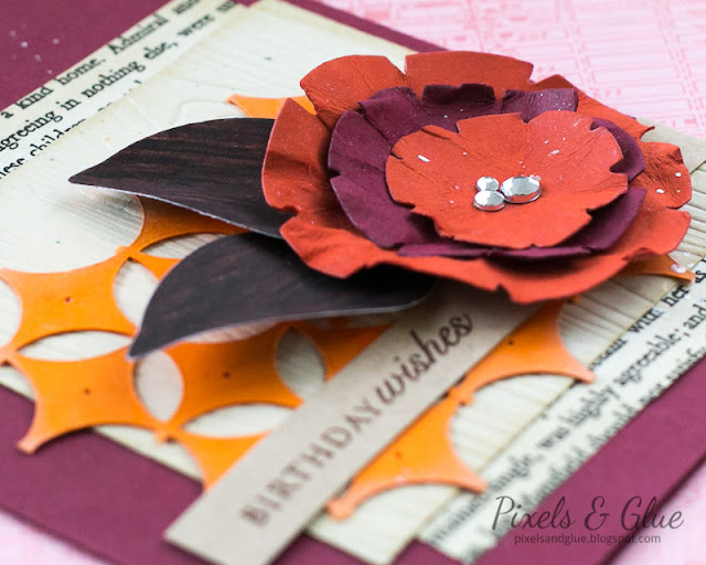 Handmade Autumn Birthday Card with Flower | Detail