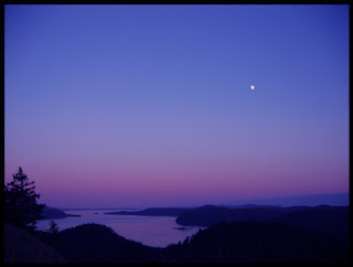 Moon view from Mayne Island BC Canada
