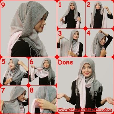 cara pakai shawl 6