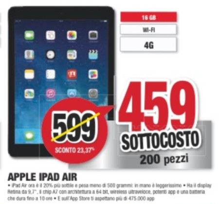 In offerta a prezzo sottocosto Apple iPad Air 4G a 459 euro