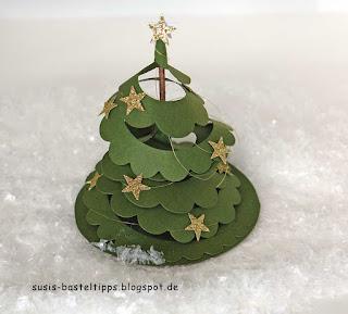 Stampin Up Spiralblume gedreht zum Weihnachtsbaum
