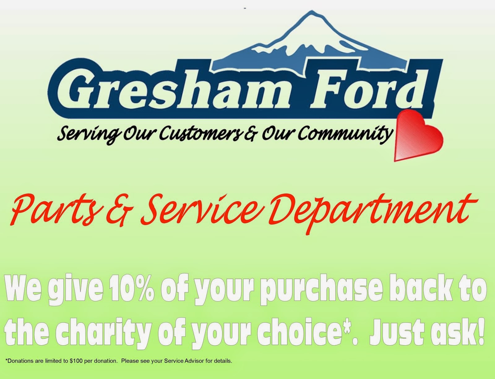 Gresham Ford Contributes to the Community