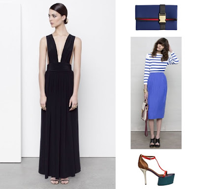 Maxi dress, blue clutch and heels from & Other Stories