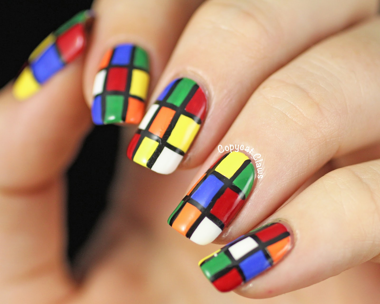 Copycat Claws 31dc2014 Day 16 Rubiks Cube Nail Art