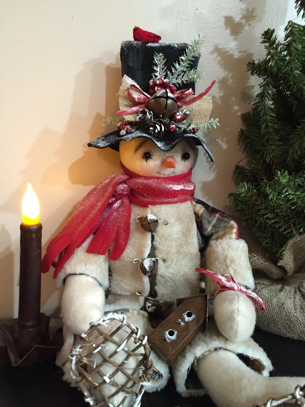 Handmade Primitive Folk Art Snowman With Snowshoes