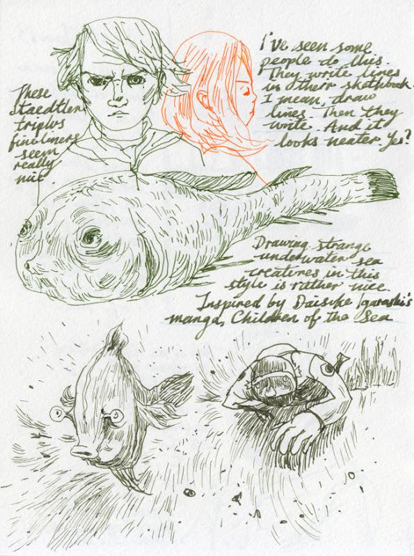 Staedtler Triplus Fineliner + Noodler's Ahab title=