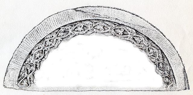 Końskie, kościół p.w. św. Mikołaja - romański tympanon. Motyw wyjątkowo precyzyjnie rzeźbionej wici palmetowej. Fragment rysunku Mariana Chochowskiego.