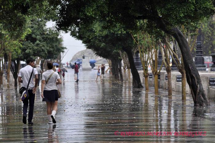 Una pareja pasea bajo una fina lluvia en el Paseo del Prado en La Habana, Cuba, el 15 de febrero de 2013.