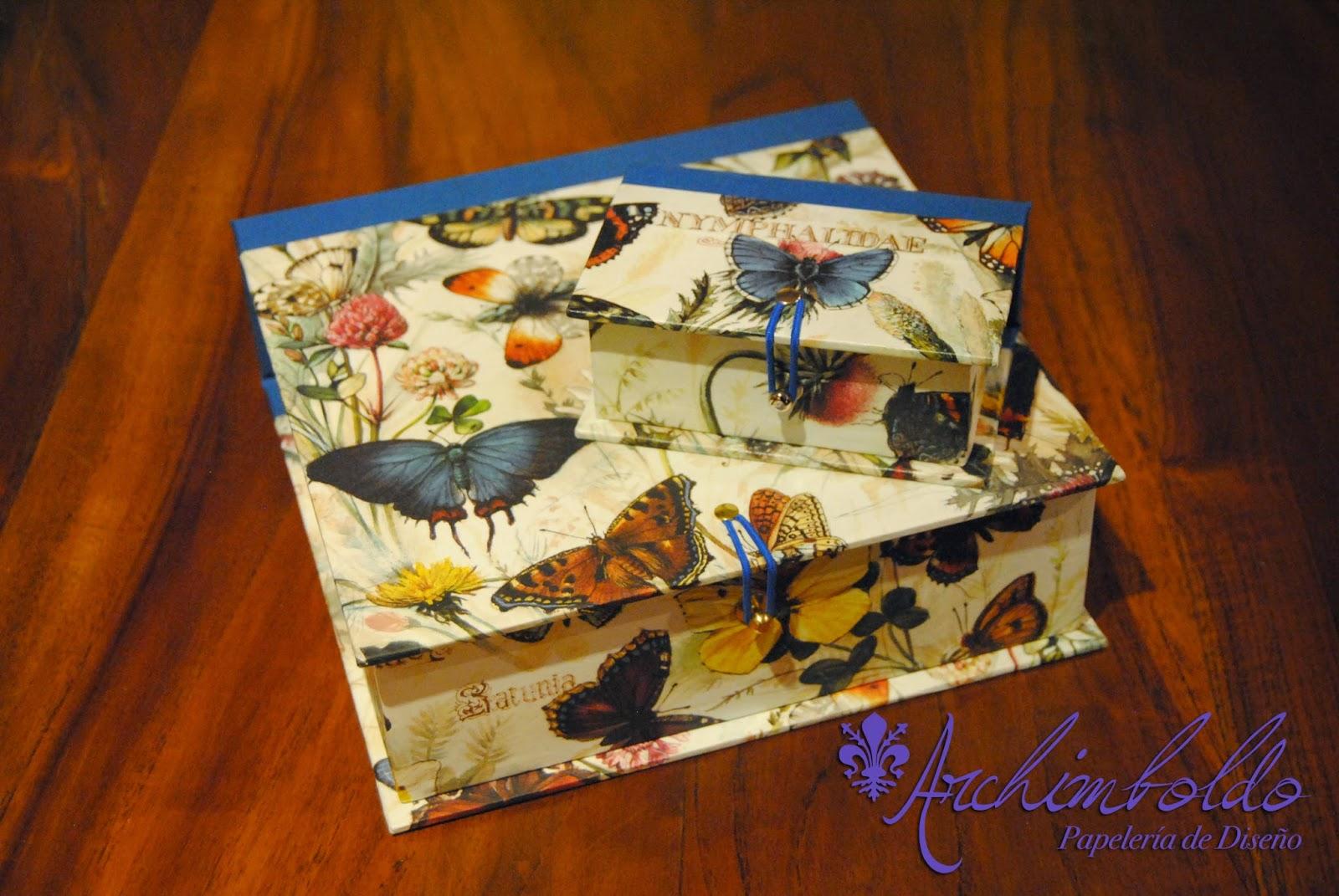 caja mariposas cartonnage