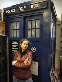 AbbyShot Customer in her Doctor Who Martha Jones Companion Jacket, entering the TARDIS