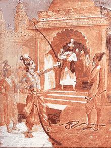 Wiswamitra menonton ketika Rama memenangkan sayembara Sinta
