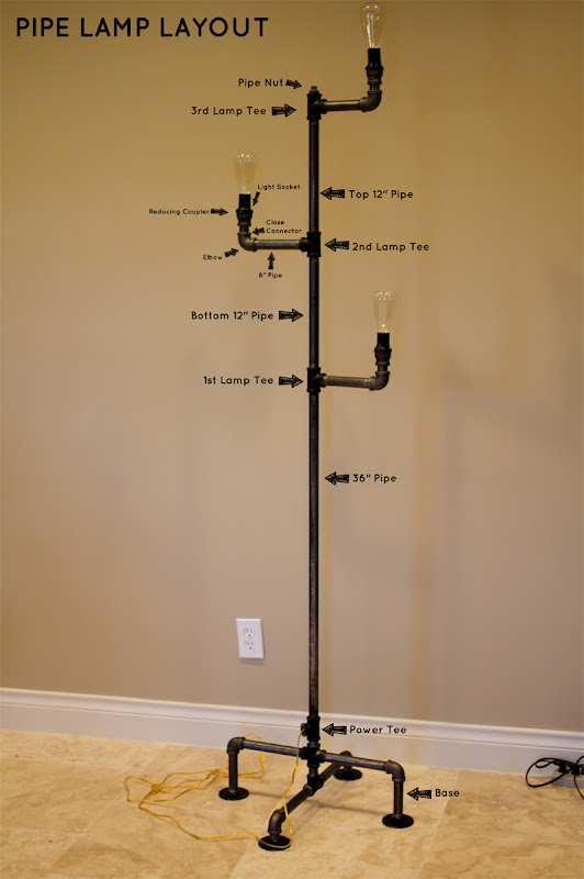 How to make an industrial pipe floor lamp how about orange for Pipe lamp plans
