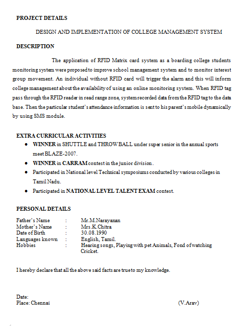 Resume Format For College Student