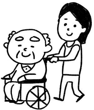 車椅子に乗ったおじいさんのイラスト(介護) 白黒線画