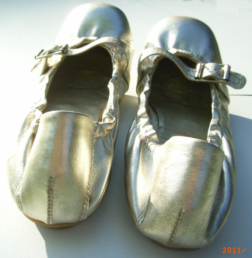 chaussures pas cher dans vide dressing de Flora : EDEN SHOES - Ballerines dorées - P38 - NEUVES
