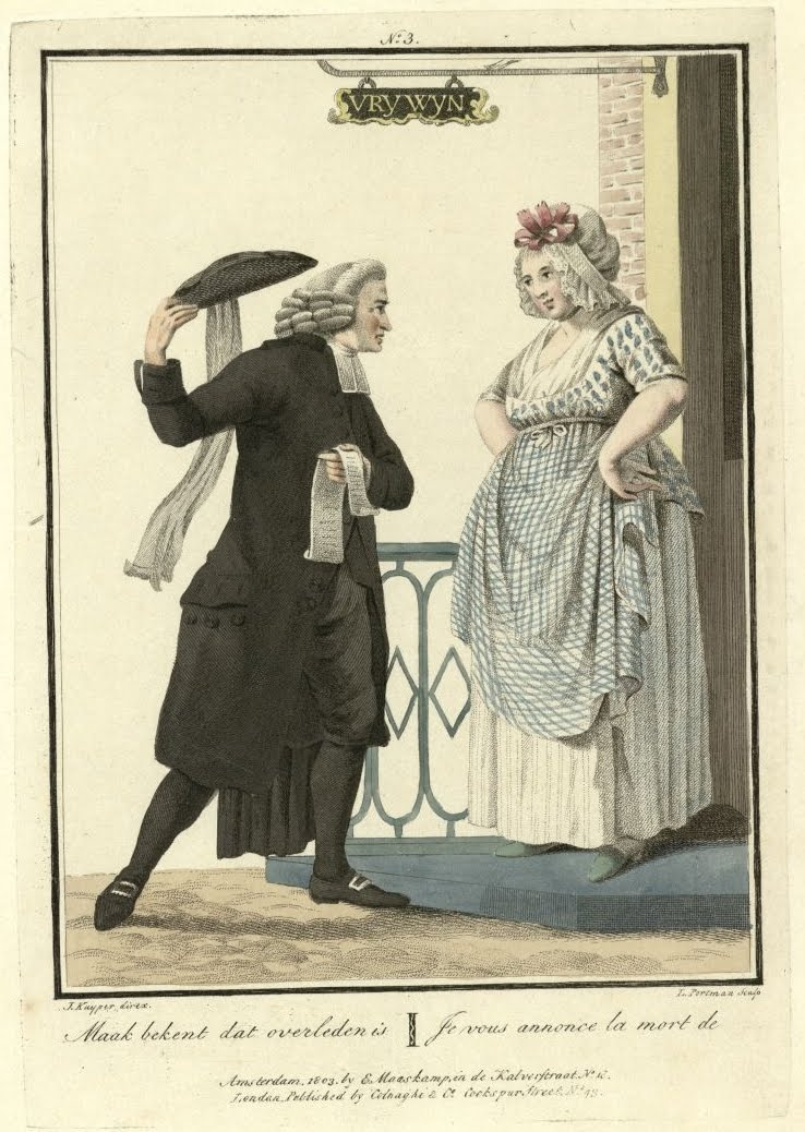vicar doffs hat to woman at her front door (hand-coloured engraving)
