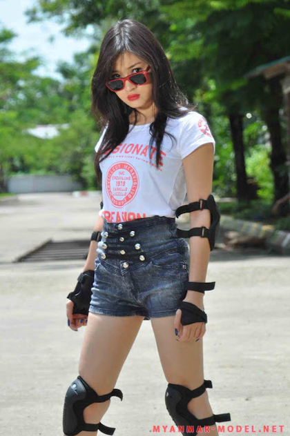 wut hmone shwe yee sexy roller blades outfit 02