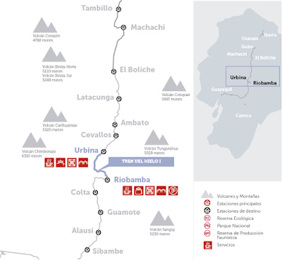 mapa-Turismo en Ecuador – Viaje turístico en Tren – Tour tren del hielo 1
