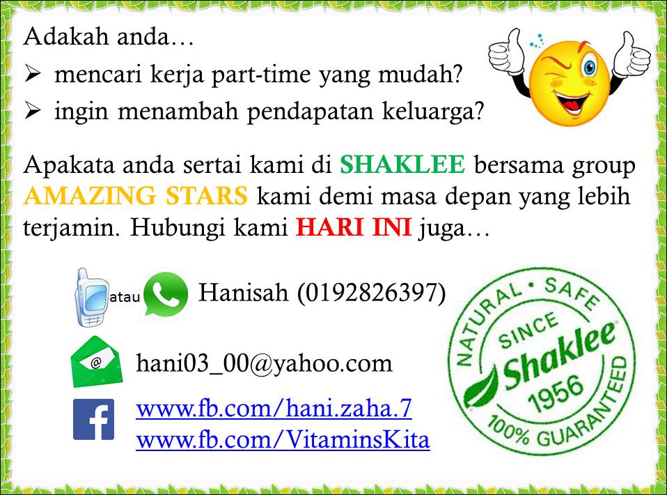pendapatan tambahan bersama Shaklee malaysia