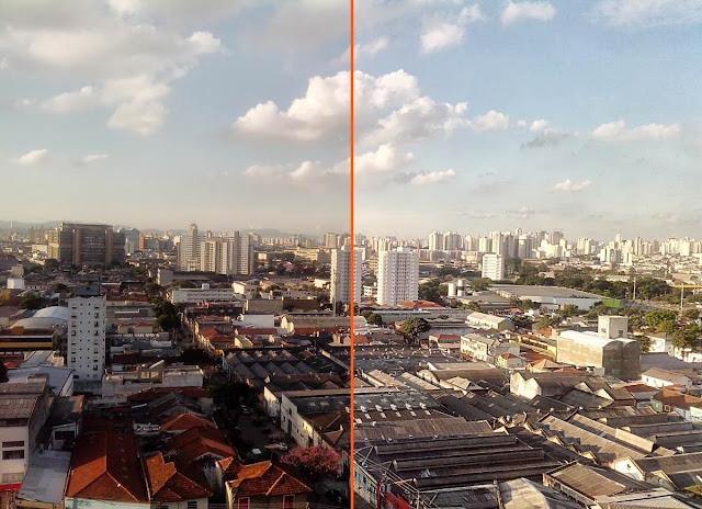 Comparativo de fotos entre o modo automático e com HDR da câmera digital do Motorola RAZR D1