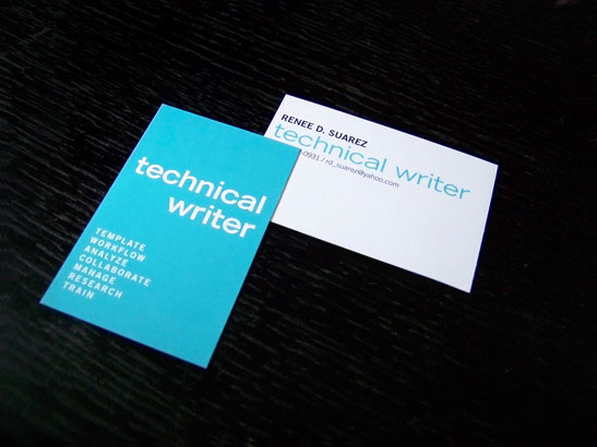 Erin b dewalt technical writer business cards leastmust be organized precise concise smart and pay great attention to detail i tried to put the same qualities into this business card design colourmoves